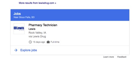 Structured data result for a Lewis Drug job posting