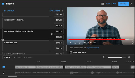 This screen grab shows how Facebook and YouTube have built in auto generated captioning software to utilize for videos.