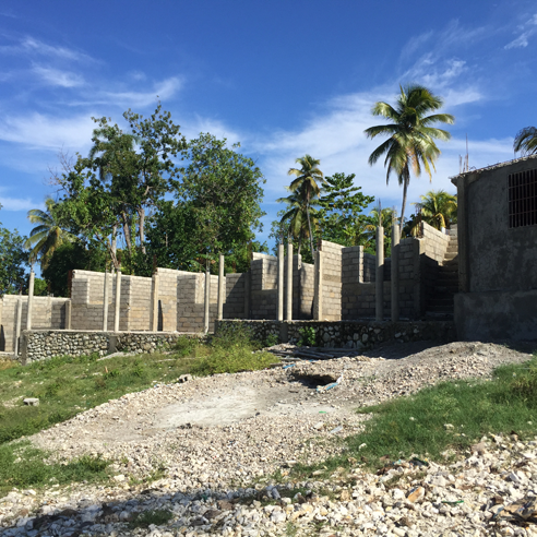 A construction project in Haiti.
