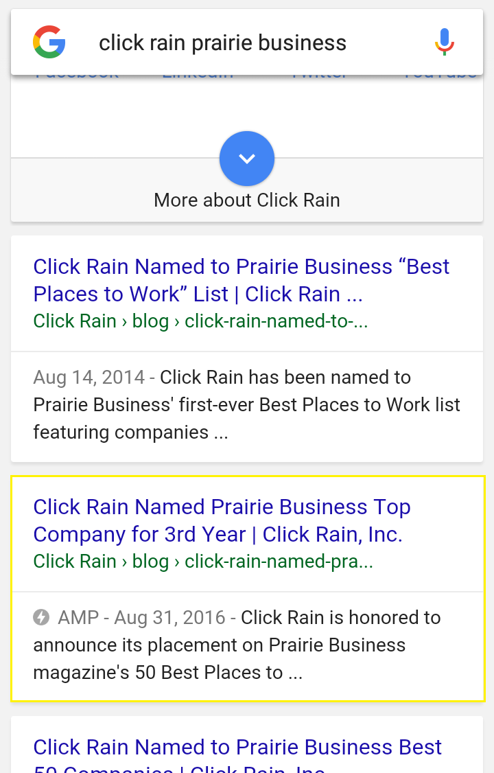 A sample screenshot of Google search results showing AMP results