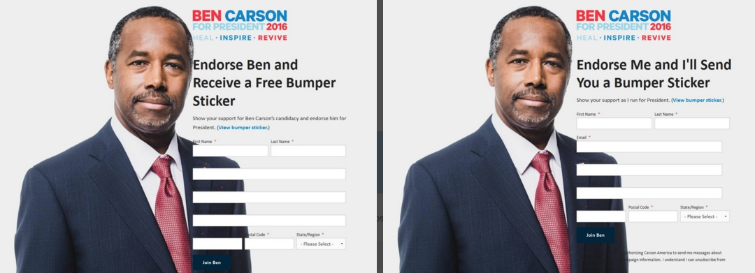 A/B test for Ben Carson campaign.