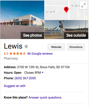 Google My Business listing for a Lewis Drug store.