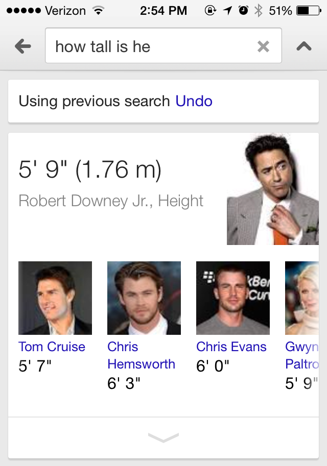 """Voice search for """"how tall is he"""""""