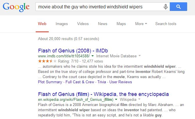 """Google search for """"movie about the guy who invented windshield wipers"""""""