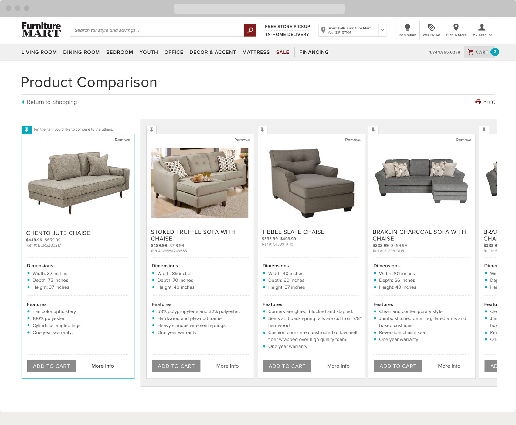Furniture Mart Compare Products Page