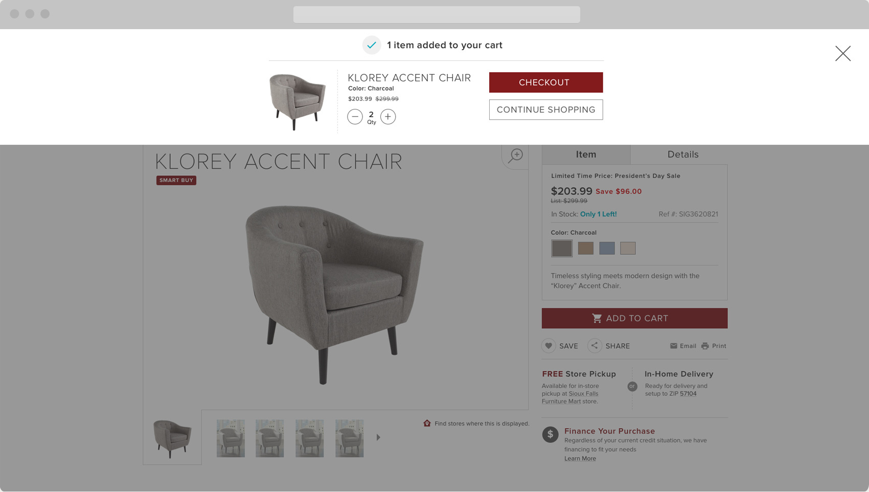Furniture Mart Add Product to Cart Functionality